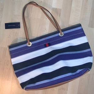TOMMY HILFIGER Large Canvas Striped Tote Bag